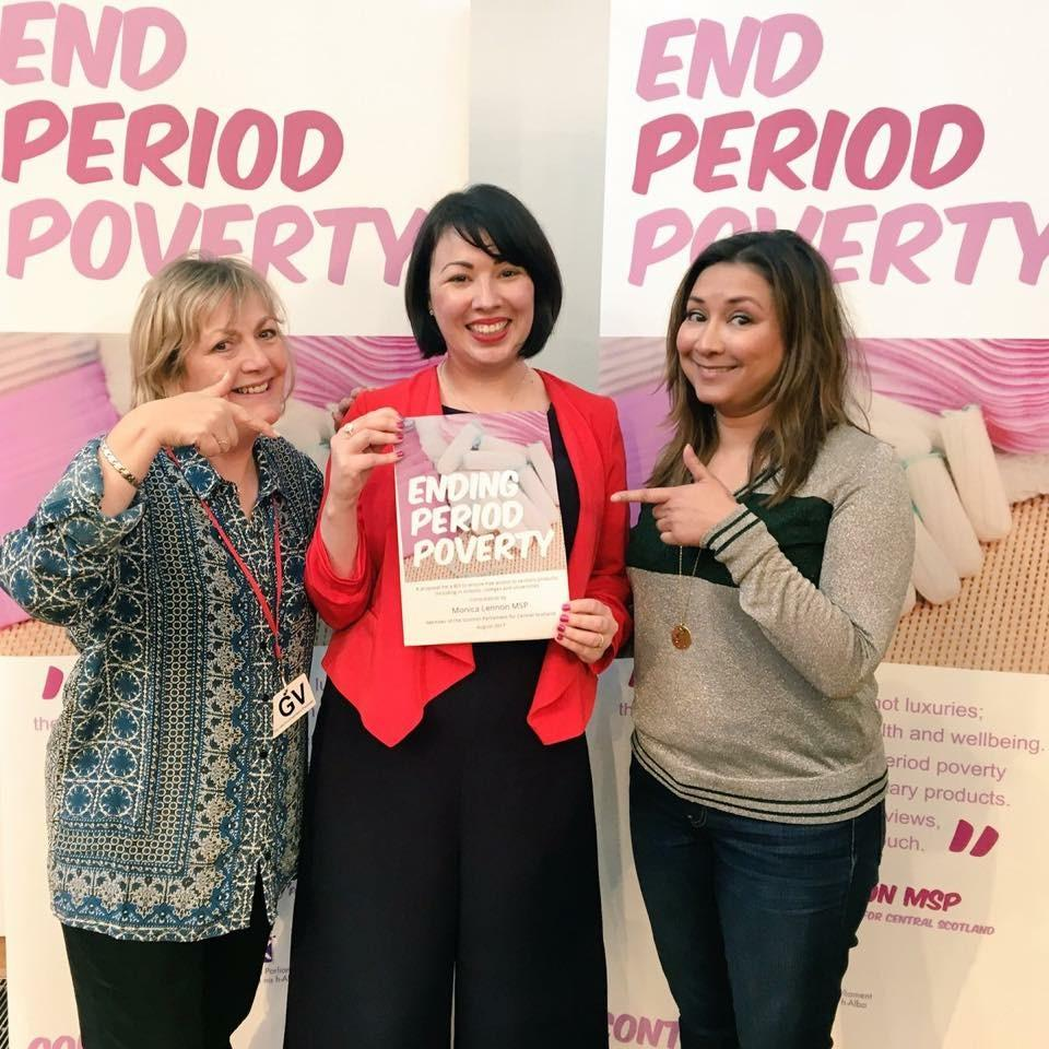 Scottish MP Monica Lennon (center) pioneers effort to make feminine products free.