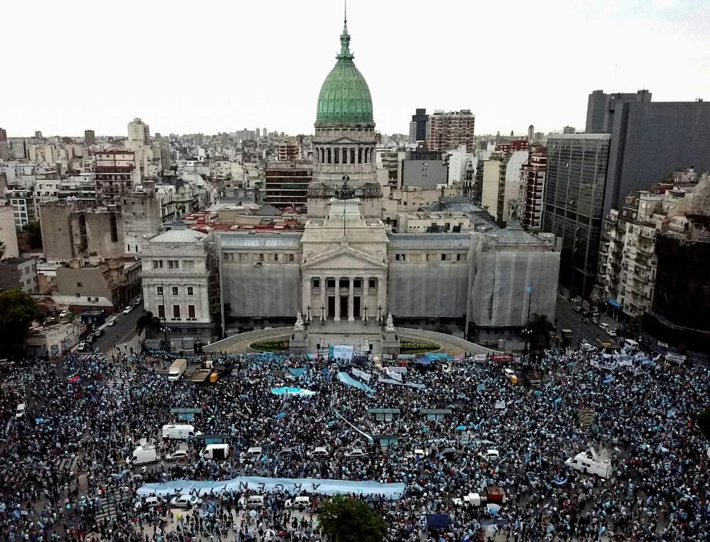 Anti-abortion activists demonstrate against a bill to legalize abortion in Argentina