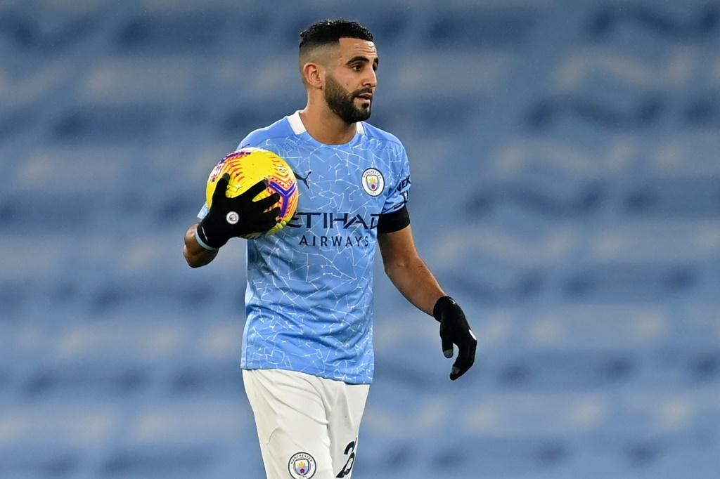 My ball: Riyad Mahrez scored a hat-trick as Manchester City clicked back into goalscoring form