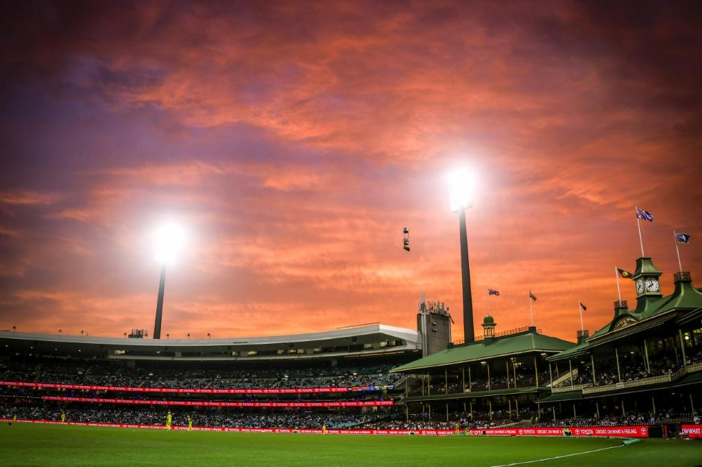 A fiery sunset over the Members' Stand during the one-day cricket match between India and Australia at the Sydney Cricket Ground in the sweltering city