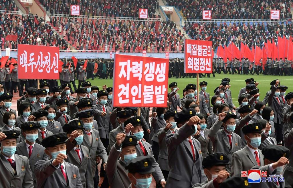 North Korean state media shows an October 2020 rally to support an 80-day economic development campaign