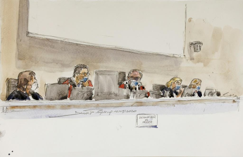 Judges at the trial sketched by a court artist