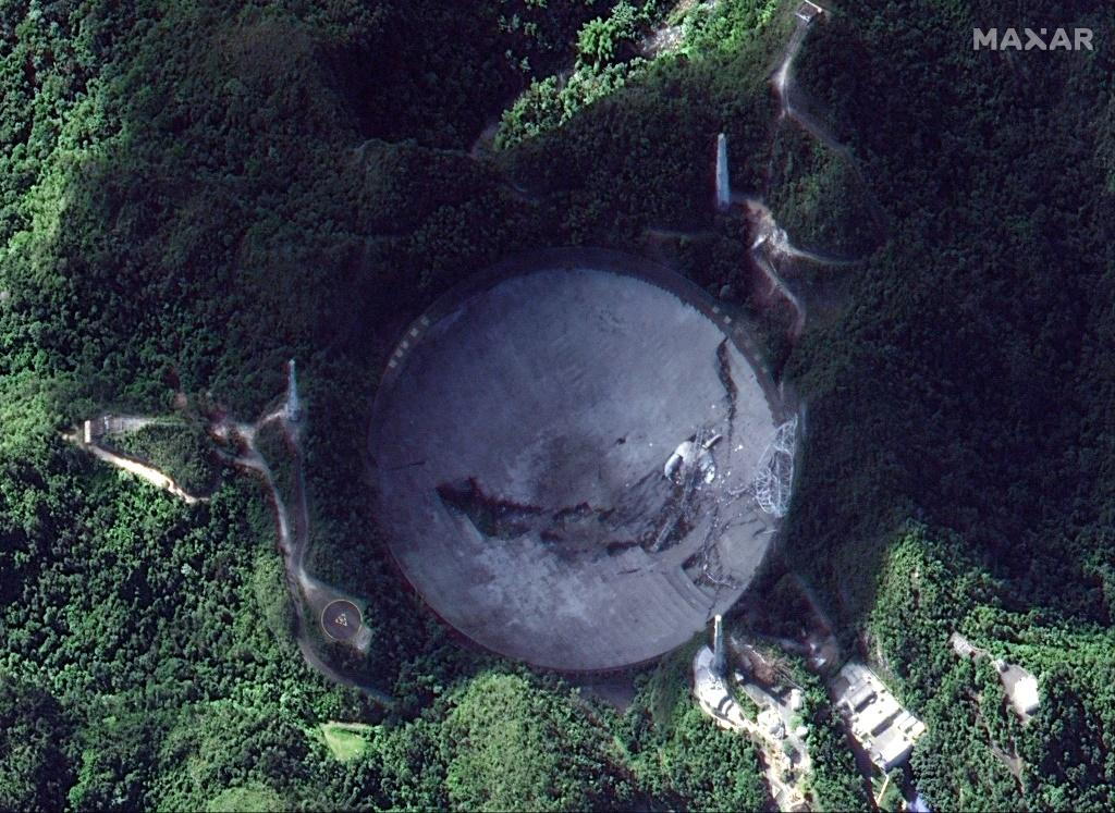 This satellite image shows the Arecibo Observatory in Arecibo, Puerto Rico, after the collapse of its 900-tonne receiver platform