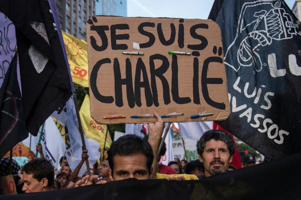 "The slogan ""Je Suis Charlie"" (I am Charlie) has come to symbolise the fight for freedom of expression after jihadist gunmen stormed the Paris offices satirical magazine Charlie Hebdo in 2015"