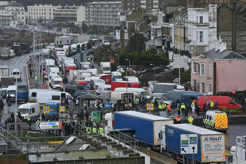 Drivers and their vehicles were still stick at the port of Dover, in Kent, south east England