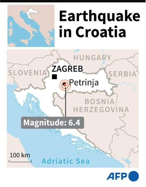 Map locating an earthquake which struck Croatia on Tuesday.