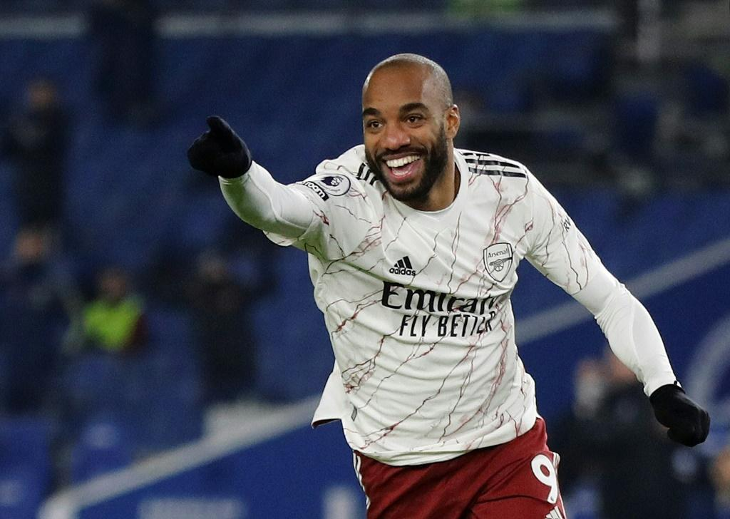 Super sub: Alexandre Lacazette came off the bench to score Arsenal's winner in a 1-0 victory at Brighton