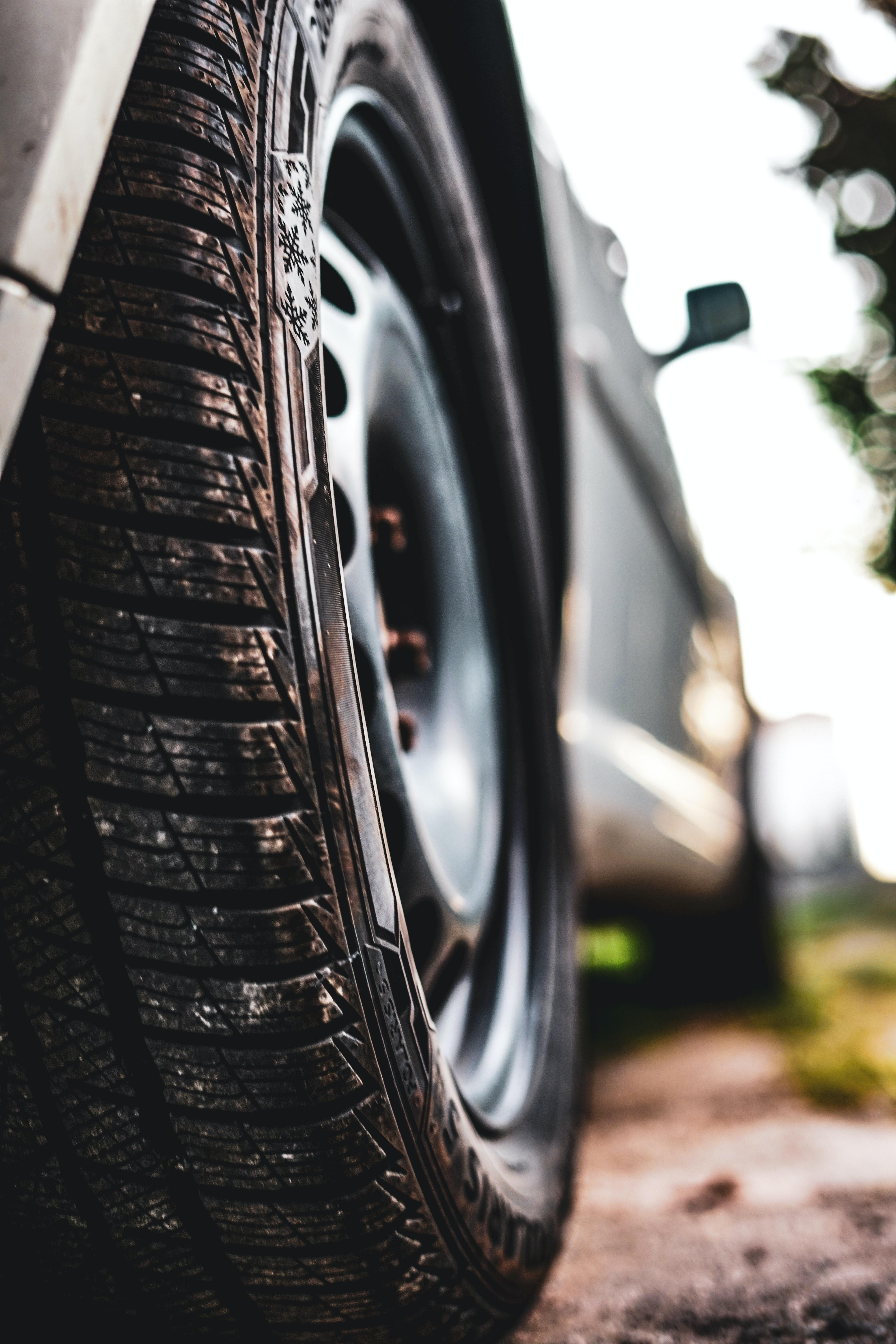 Close up of a touring tire.