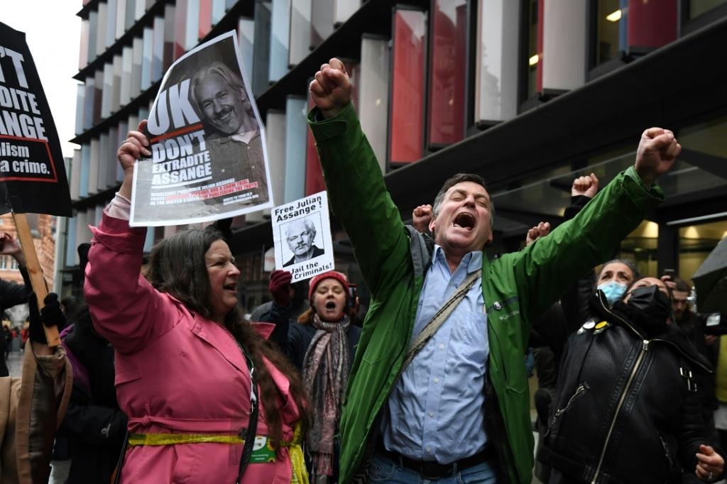 Supporters of Assange celebrated outside the court in London after a judge ruled that he should not be extradited to the United States