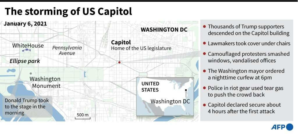 Map and factfile on the Capitol in Washington, DC, stormed by Trump supporters on January 6.