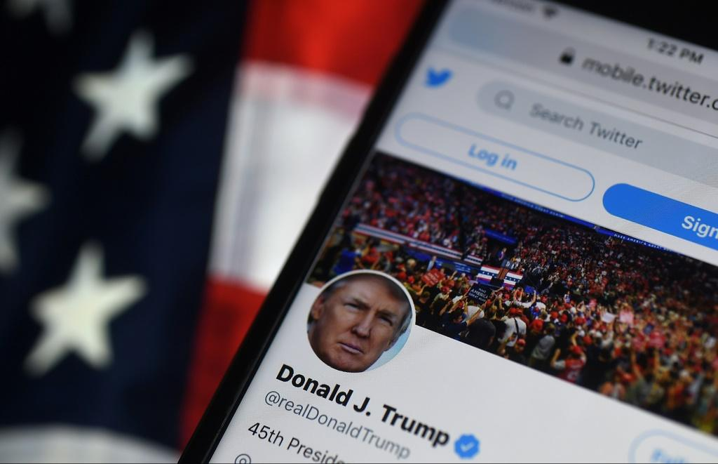 This photo from August 10, 2020 shows the Twitter account of President Donald Trump, indefinitely suspended on January 8, 2021 after his followers invaded the US Capitol
