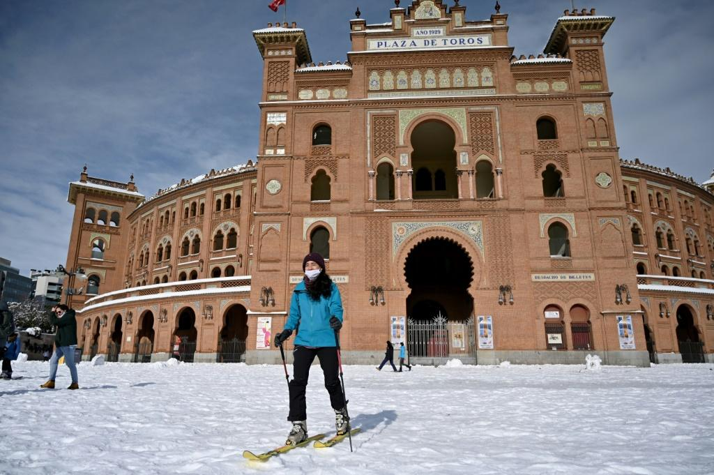 Some adapted quickly to the wintry conditions in Madrid