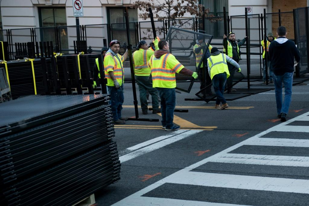 Fences go up as part of the security operation to protect the inauguration