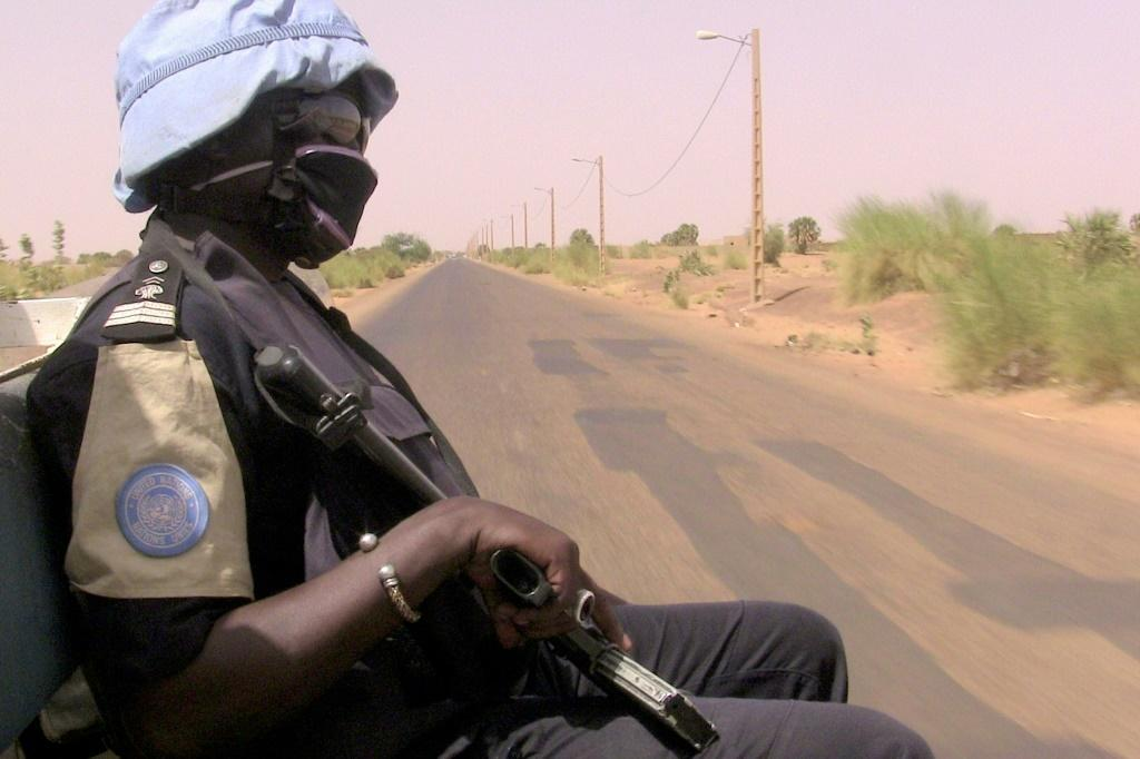 Peacekeepers (similar to this one, pictured May 2016) travelling the road linking the central town of Douentza to the city of Timbuktu further north hit a roadside bomb, according to a statement from the MINUSMA peacekeeping mission