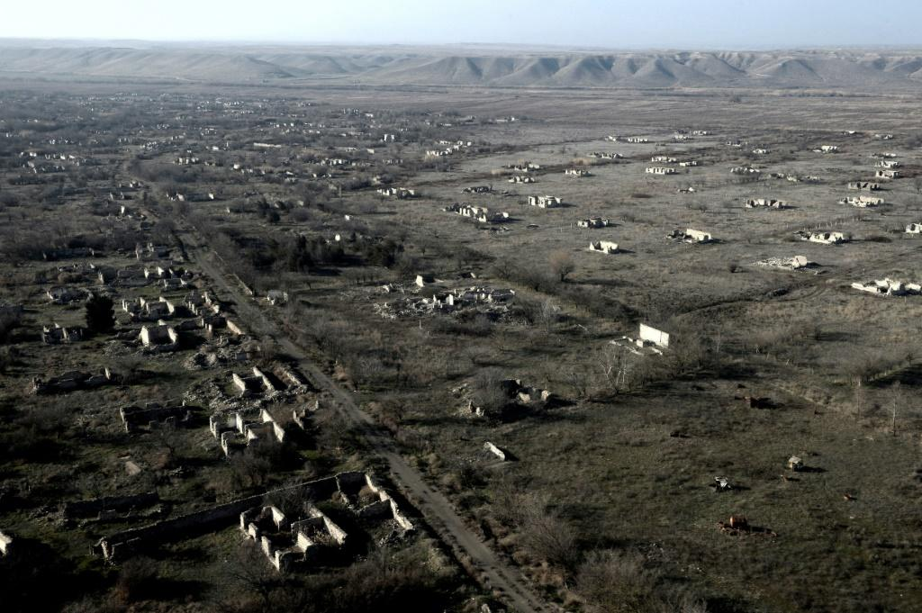 This aerial view shows ruins of the village of Zangilan, Azerbaijan, on January 5, 2021, in an area recaptured by Azerbaijan in October 2020 during a six-week war with Armenia over breakaway region of Nagorno-Karabakh