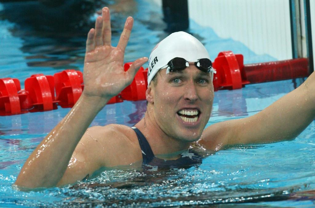 US swimmer Klete Keller smiles after winning a men's 4 x 200m freestyle relay heat in the 2008 Beijing Olympic Games.