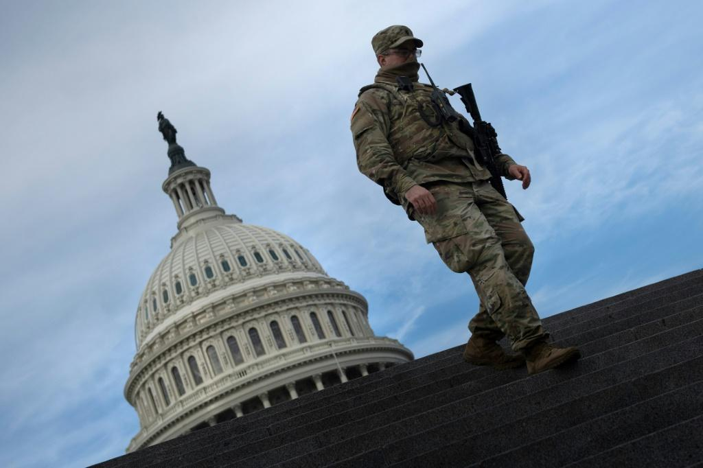 A member of the National Guard on security details at the US Capitol ahead of the January 20 inauguration of Joe Biden as president