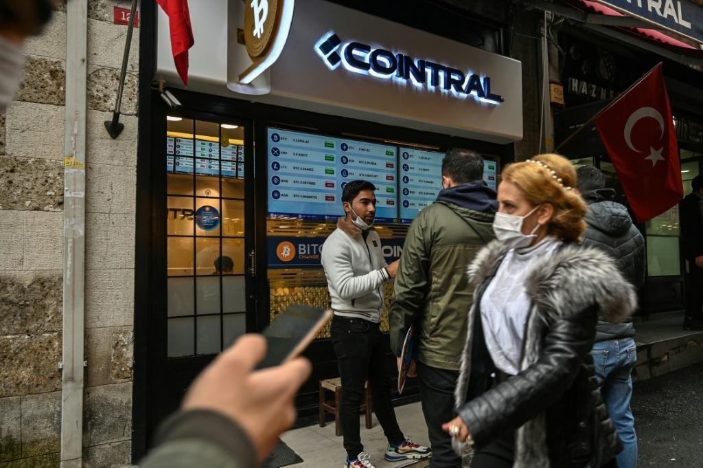 """Istanbul's """"Bitcoin Change"""" shop near the Grand Bazaar -- but how much the virtual unit is worth swings wildly from day to day"""