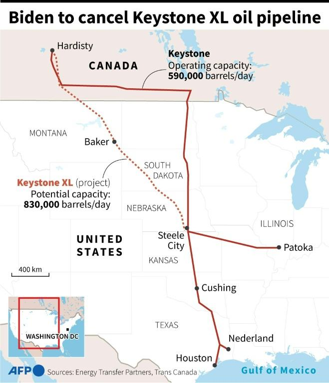 Map of the Keystone and Keystone XL oil pipelines in the United States and Canada
