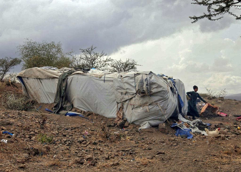 Displaced Yemenis in a makeshift camp the country's third city of Taez
