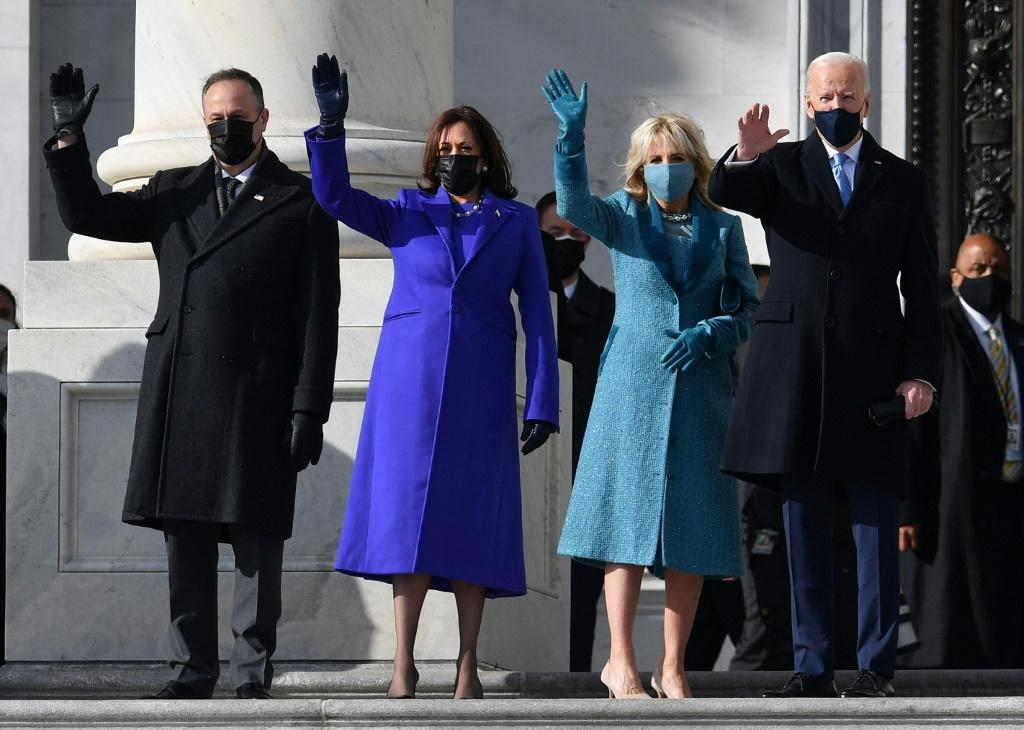 (L-R) Doug Emhoff, US Vice President-elect Kamala Harris, incoming US First Lady Jill Biden, US President-elect Joe Biden arrive for the inauguration ceremony at the US Capitol