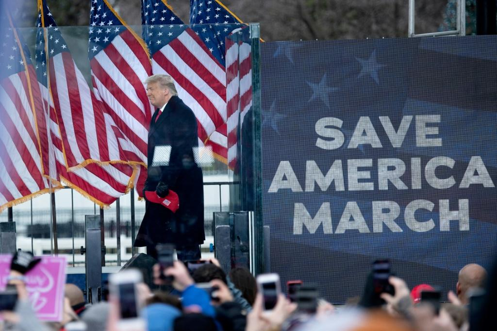 Donald Trump is seen addressing supporters flooding the nation's capital ahead of the insurrection at the US Capitol on January 6