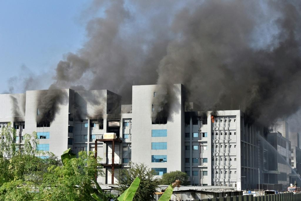 Smoke billows from buildings at India's Serum Institute in Pune after a fire broke on the campus of the world's biggest vaccine manufacturer