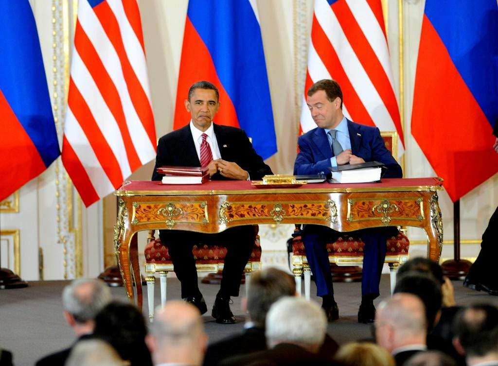The then presidents of the United States and Russia, Barack Obama and Dmitry Medvedev, meet in Prague in 2010 to sign the New START nuclear treaty