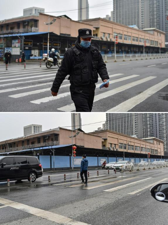 Then and now: The boards blocking off Wuhan's seafood market serve as an eerie reminder of the first known coronavirus cases