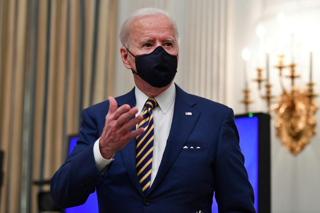 US President Joe Biden, pictured January 22, 2021, has rescinded a permit for the Keystone XL Pipeline via executive order