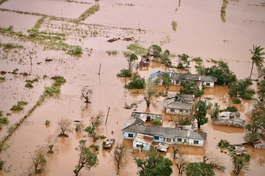 A flooded area of Buzi, central Mozambique, on March 20, 2019, after the passage of cyclone Idai