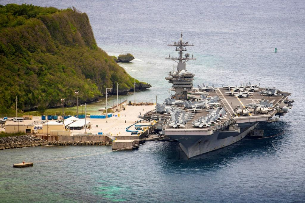 The USS Theodore Roosevelt moored in Guam in May 2020