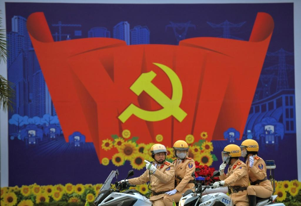 Roads were sealed off early Tuesday morning around Hanoi's National Convention Centre