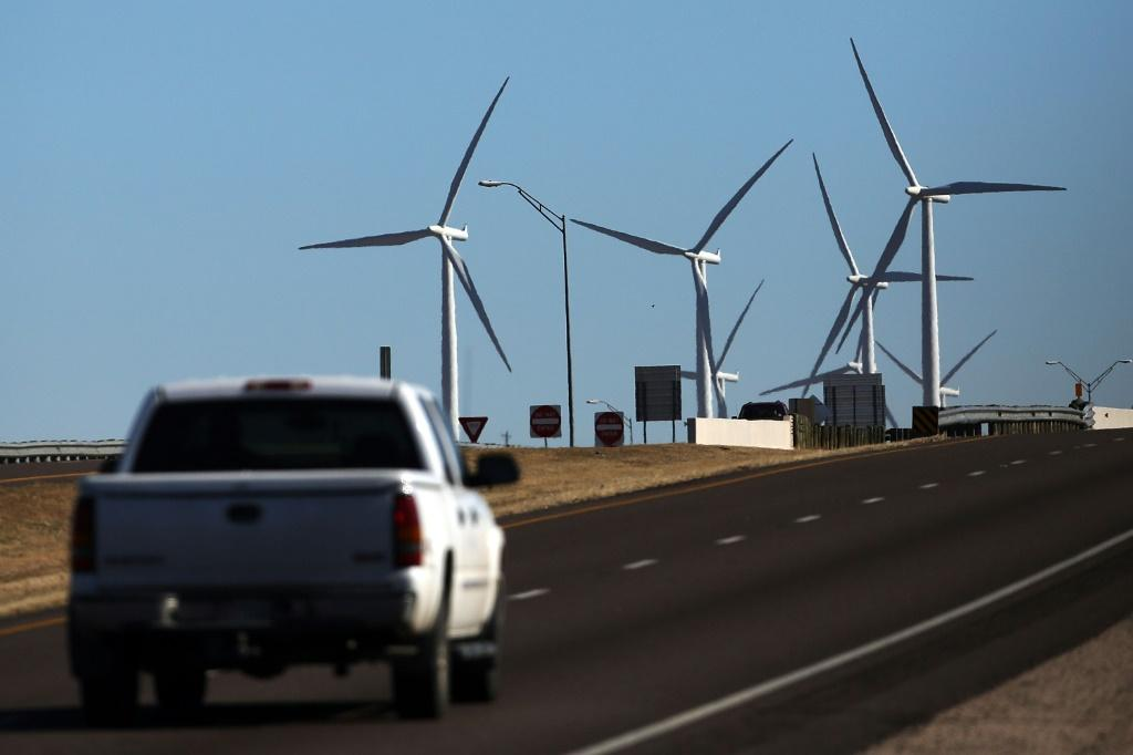 Wind turbines are viewed at a wind farm in Colorado City, Texas