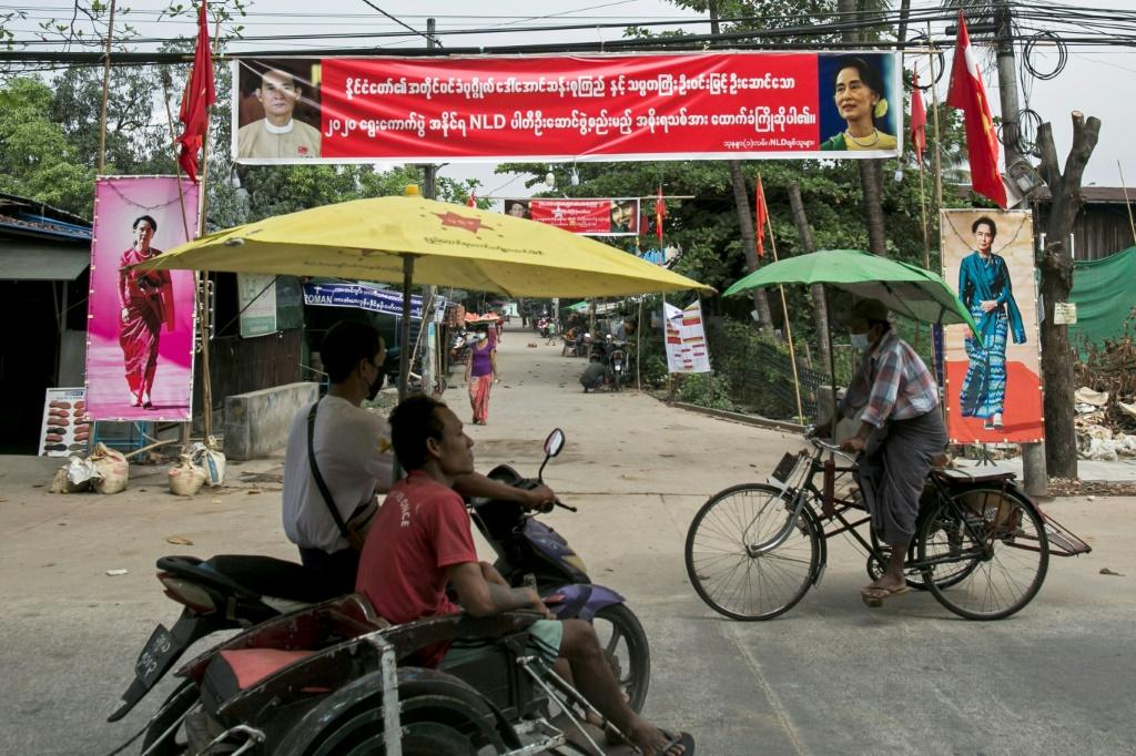Banners in Yangon celebrate the victory of Aung San Suu Kyi's ruling National League of Democracy in Myanmar's November 2020 elections