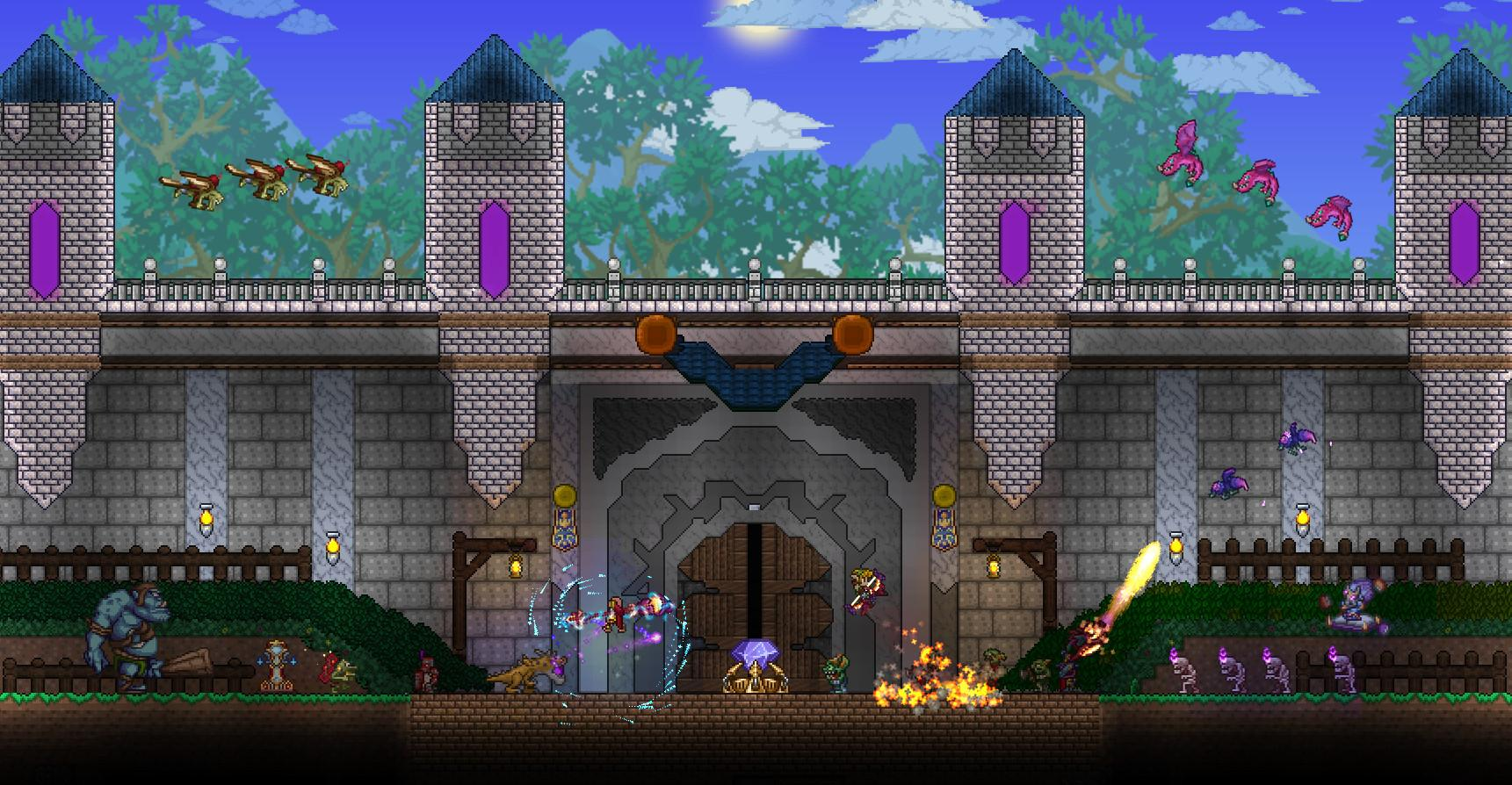 Players fending off a wave of monsters in Terraria
