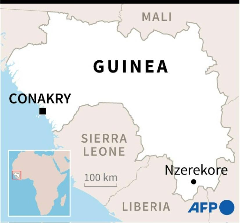 Map of Guinea showing where a number of people have died from Ebola, the first since 2016.