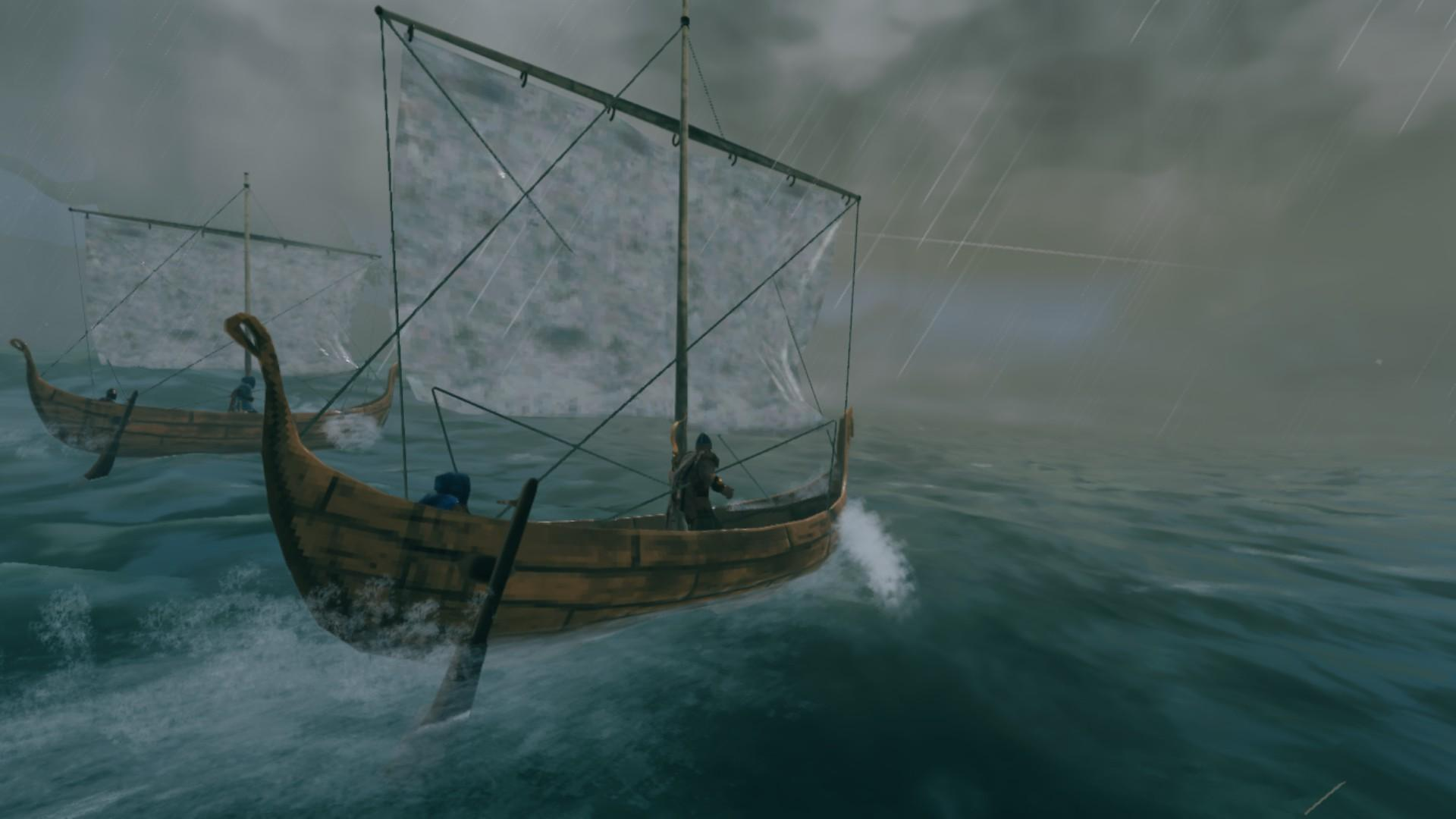 Valheim players hunting for Sea Serpents during a storm
