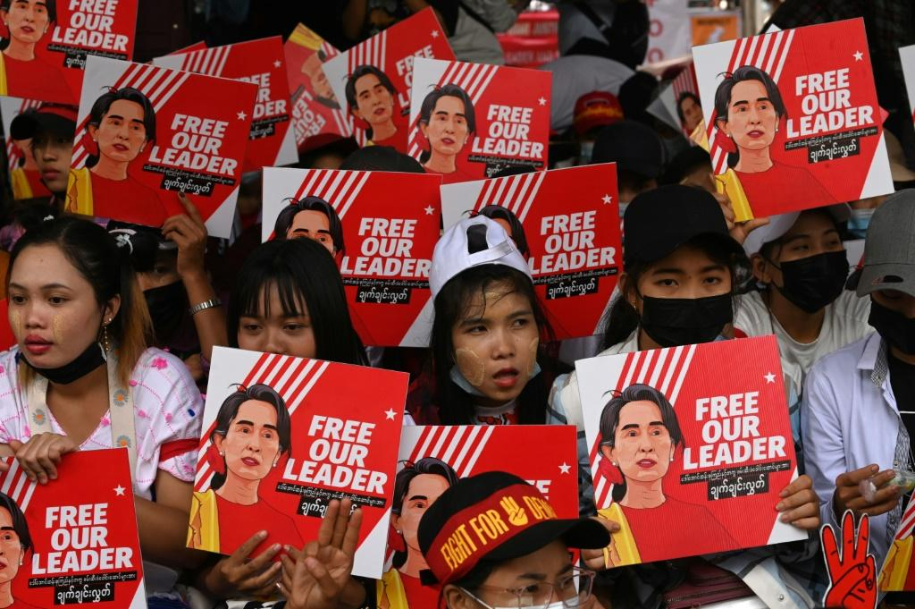 Protesters outside the US Embassy in Yangon on Sunday