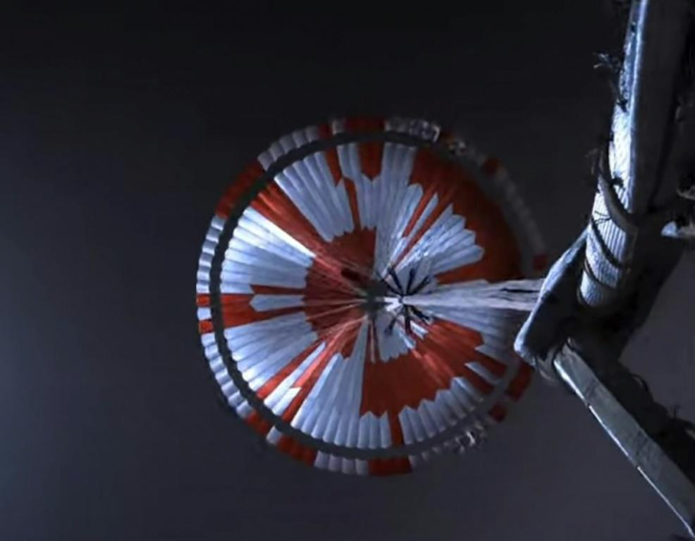 A video grab photo of the parachute used in the landing of NASA's Perseverance rover on Mars
