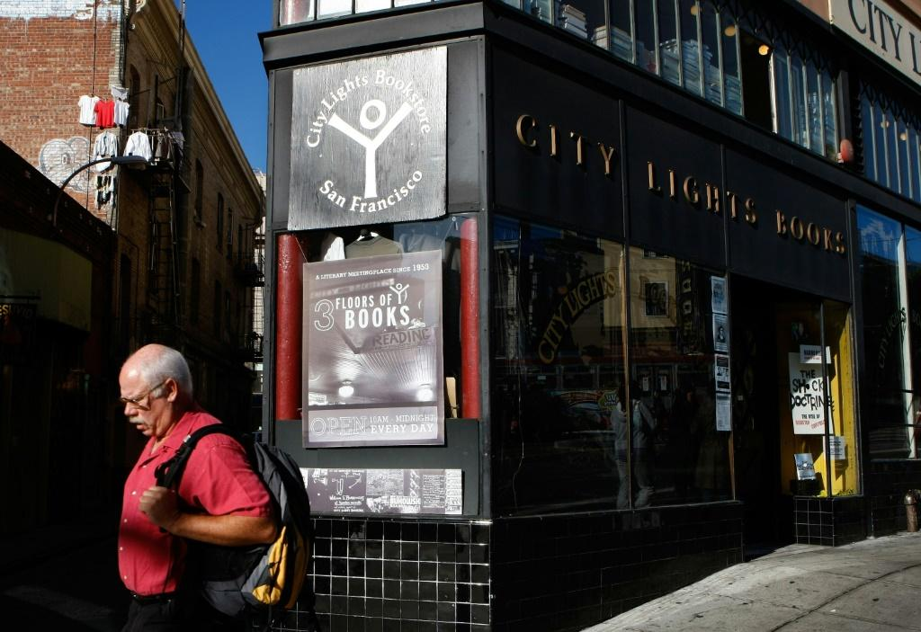 Lawrence Ferlinghetti co-founded the City Lights Bookstore in San Francisco, seen here