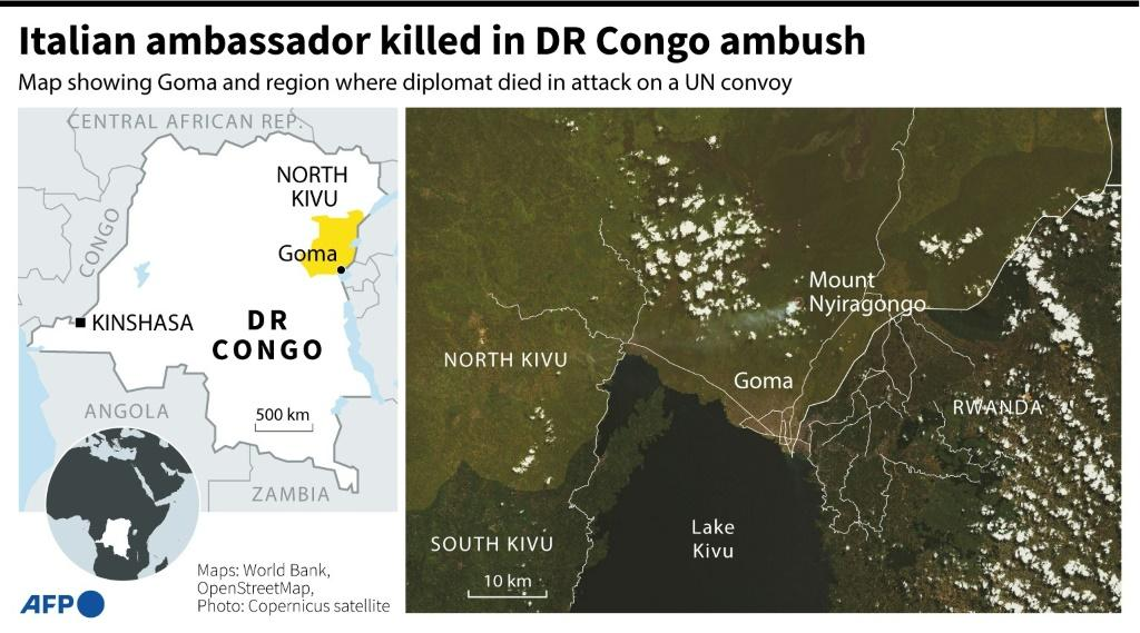 Map of DR Congo's eastern Goma region where Italy's ambassador was killed in an attack on a UN convoy