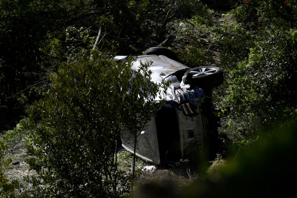 The vehicle driven by Tiger Woods lies on its side in Rancho Palos Verdes, California, on February 23, 2021, after his rollover accident