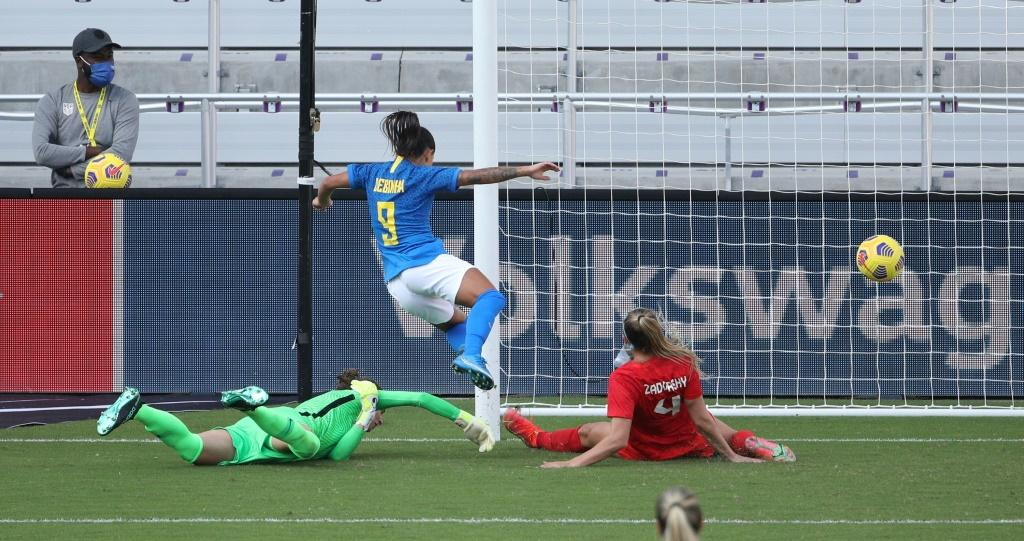 Brazilian forward Debinha scores in the first half of a 2-0 victory over Canada in the SheBelieves Cup