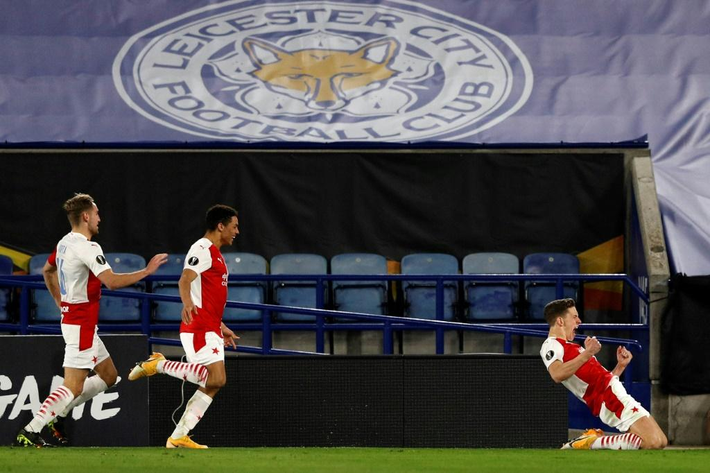 Lukas Provod (R) celebrates after scoring the opening goal for Slavia Prague away to Leicester City
