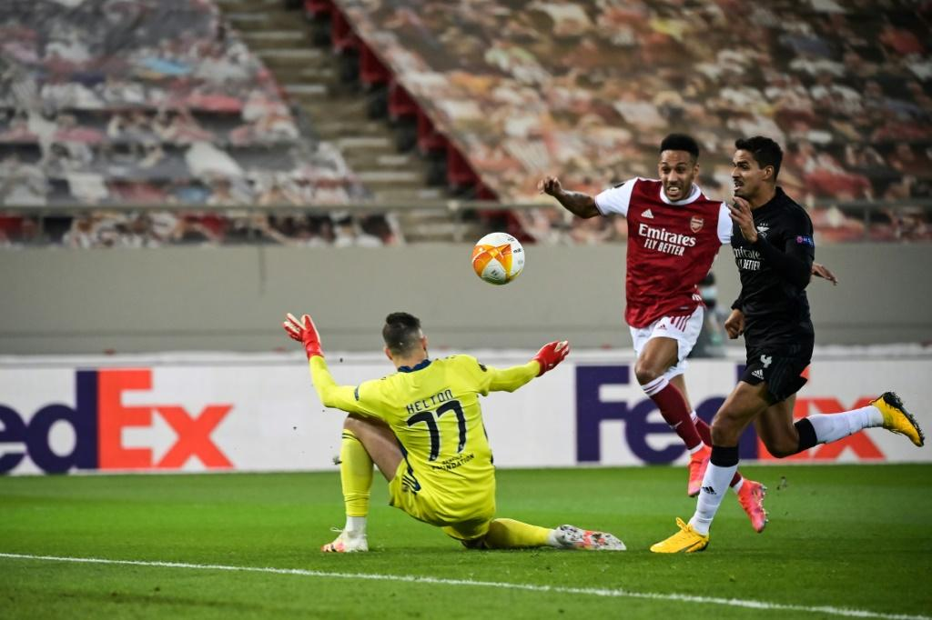 Pierre-Emerick Aubameyang (C) scored two of Arsenal's three goals in a win over Benfica in Greece