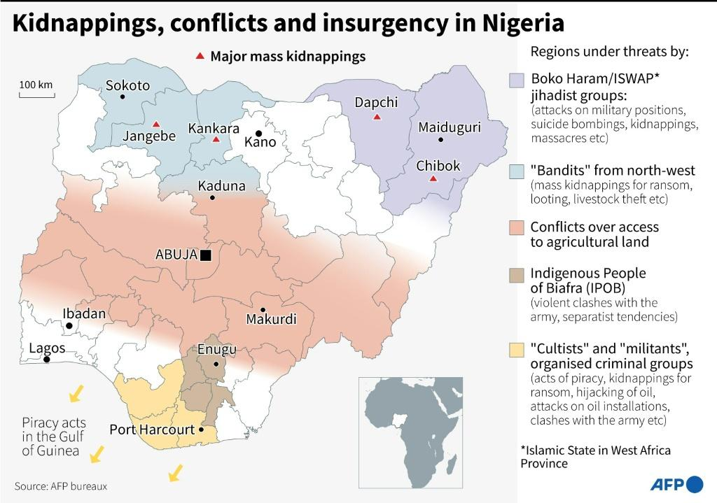 Map locating major mass kidnappings in Nigeria and other regions facing threats from conflicts, insurgency or criminal groups