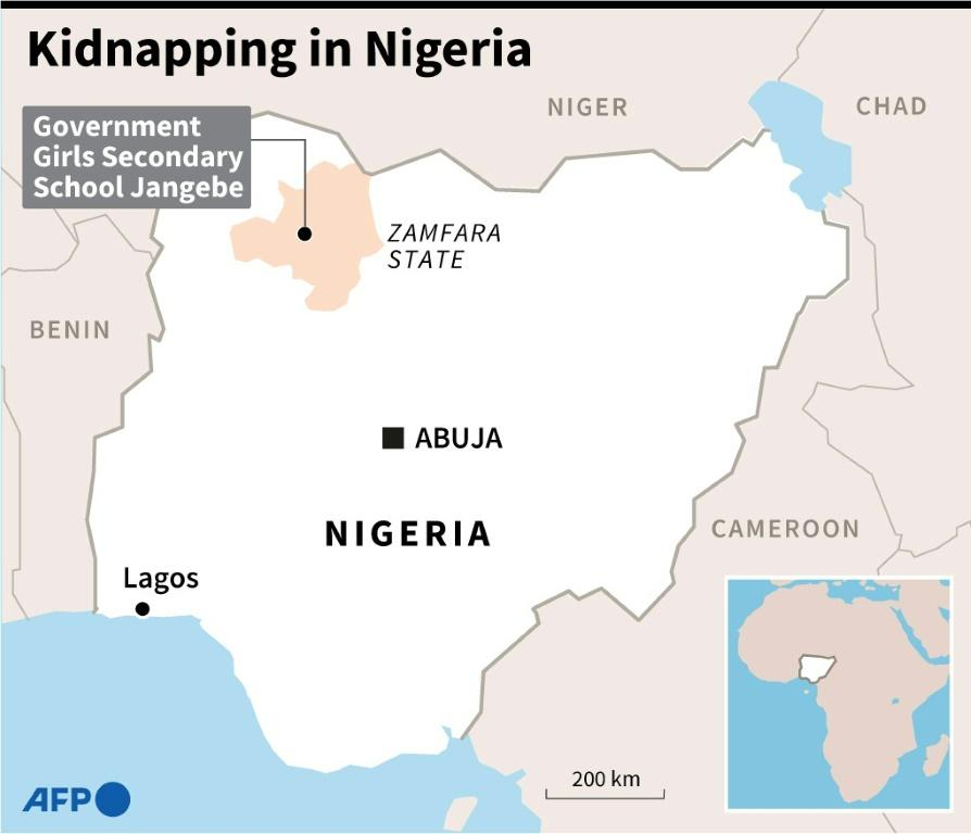 Map of Nigeria locating the site of the latest feared kidnapping of school students