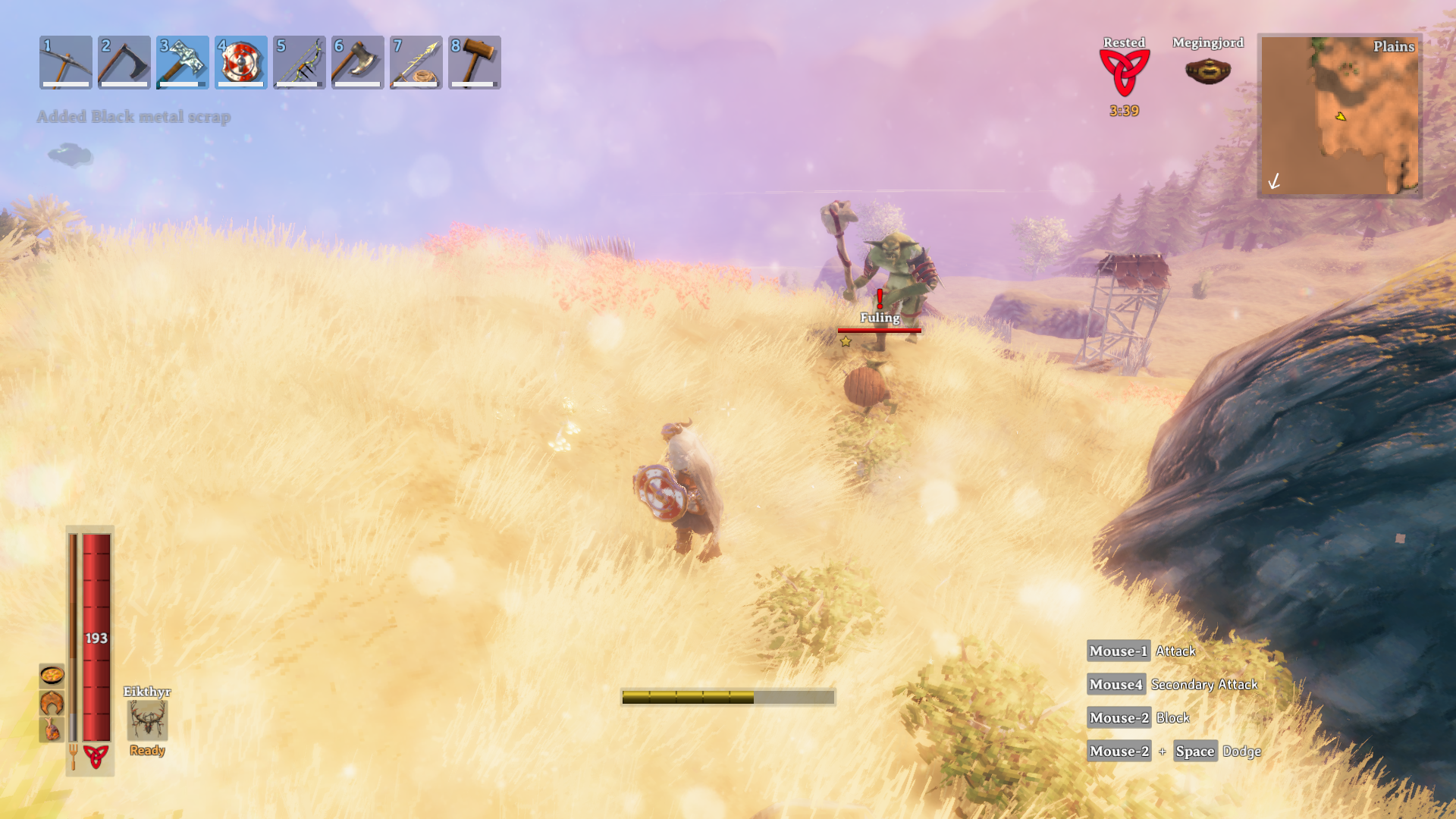 A player being chased by a Fuling and a Fuling Berserker across the Plains biome in Valheim