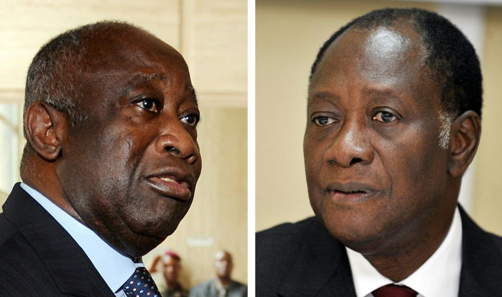 Laurent Gbagbo, left, and Alassane Ouattara, at the height of their tussle for power in December 2010